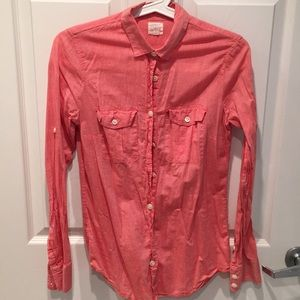 J. Crew Pink/Red long sleeves button down shirt